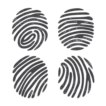 dactylogram: Black grunge finger print set isolated on white background. Elements of identification systems, security conception, apps icons.
