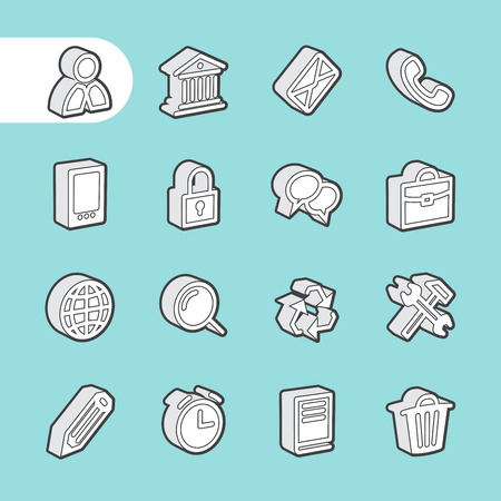 equipment work: 3D Business Line Icon set for web and mobile. Modern minimalistic flat design elements of customer service, client support, success business management, work tools, banking services, office equipment Illustration