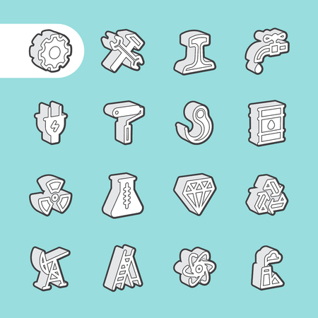 equipment work: 3D Fat Line Icon set for web and mobile. Modern minimalistic flat design elements of Industrial equipment, engineering construction and work tools