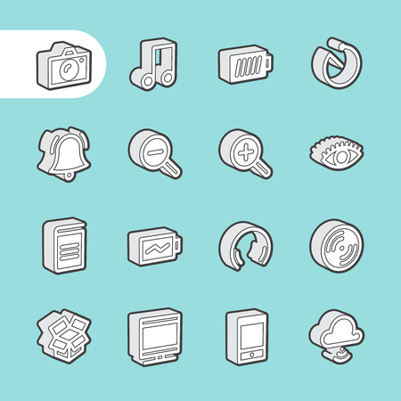entertaiment: 3D Fat Line Icon set for web and mobile. Modern minimalistic flat design elements of Media Service, Entertaiment and Gadgets Illustration