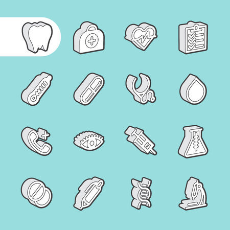 medical equipment: 3D Fat Line Icon set for web and mobile. Modern minimalistic flat design elements of Healthcare and medical equipment
