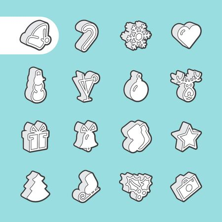 ilex: 3D Fat Line Icon set for web and mobile. Modern minimalistic flat design elements of christmas decorations, party and invitation
