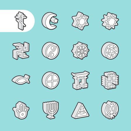 simbolos religiosos: 3D grasa Línea de iconos para web y móvil. elementos de diseño plana minimalistas modernas de símbolos religiosos del mundo Vectores