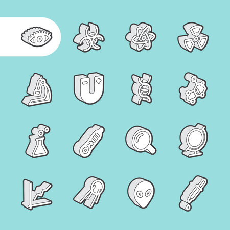 genome: 3D Fat Line Icon set for web and mobile. Modern minimalistic flat design elements of scientific equipment, biotechnology, genome testing, physical and chemistry materials research