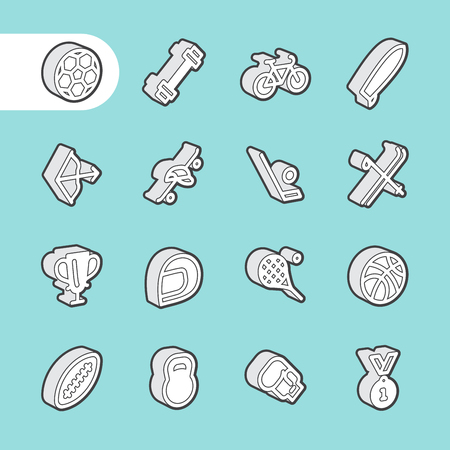 sport equipment: 3D Fat Line Icon set for web and mobile. Modern minimalistic flat design elements of sport equipment, Health and Fitness