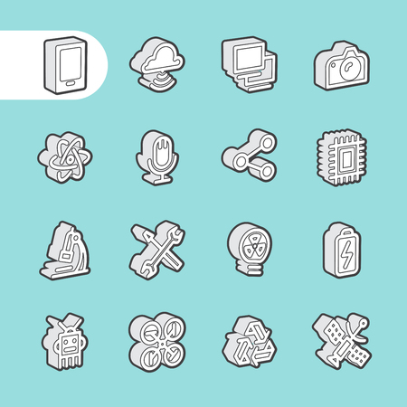 cloud computer: 3D Fat Line Icon set for web and mobile. Modern minimalistic flat design elements of computer network technology, cloud computing database, modern technical and science instruments