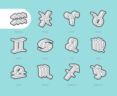 lion fish: 3D Fat Line Icon set for web and mobile. Modern minimalistic flat design elements of Zodiac Signs Illustration