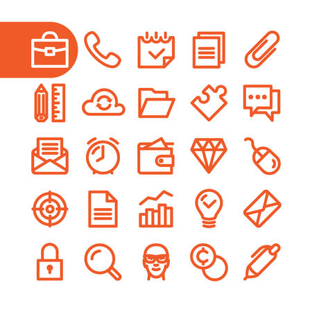 conceptions: Business Fat Line Icon set for web and mobile. Modern minimalistic flat design elements of office supplies, business conceptions, work tools Illustration