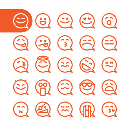communication icons: Fat Line Icon Set of speech bubble emoticons for web and mobile. Modern minimalistic flat design elements of speech bubble emoji isolated on white background, vector illustration.