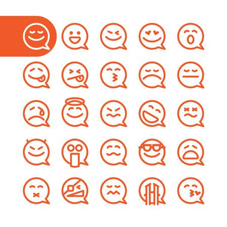 diversion: La grasa Línea de iconos Conjunto de iconos gestuales discurso de burbuja para web y móvil. elementos de diseño de planos minimalistas modernas de la burbuja del discurso emoji aislados en fondo blanco, ilustración vectorial. Vectores
