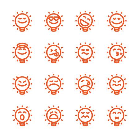 bulb light: Fat Line Icon Set of lightbulb emoticons for web and mobile. Modern minimalistic flat design elements of emoji light bulb isolated on white background, vector illustration.