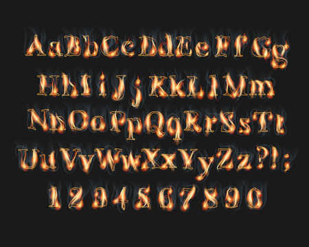 Fire burning alphabet and numbers font set with smoke on black background Stock Illustratie