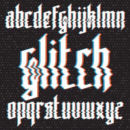 glitch: Modern custom gothic glitch distortion alphabet font. Trendy glitch vector font set on dark background