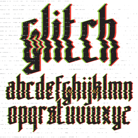 displacement: Modern custom gothic glitch distortion alphabet font. Trendy glitch vector font set