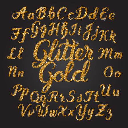 Handwritten Glitter Gold-Alphabet-Vektor-Schriftart. Hand gezeichnet Pinsel Skript Buchstaben auf schwarzem Hintergrund. Vektor-Schriftzug Typographie Illustration