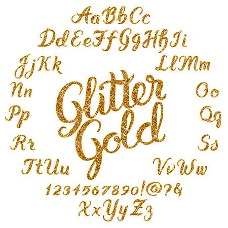 Odręczne Glitter Złota czcionki Alfabet wektorowych. Ręcznie rysowane litery skryptów szczotki na czarnym tle. wektor stock liternictwo typografii