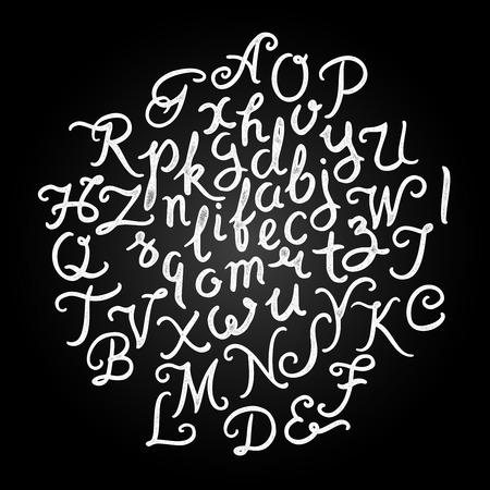 Handwritten alphabet vector font. Hand drawn brush script letters on black background. Stock vector lettering typography