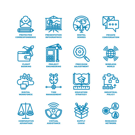 industry icons: Business Line Icons. Modern elements of Research network, supply chain, virtual assistance, industrial policy, education strategy, time management, digital workforce, project engineering Illustration