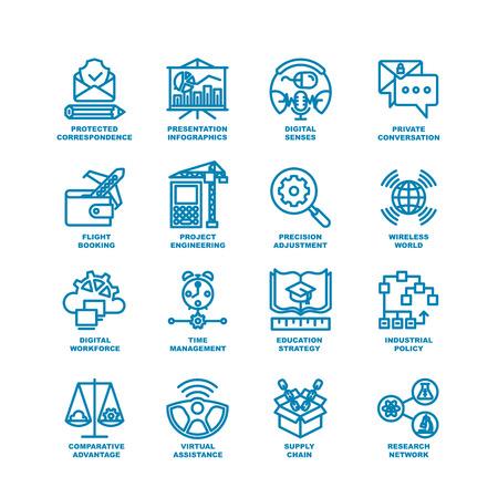 Business Line Icons. Moderne elementen van Research netwerk, supply chain, virtuele hulp, industrieel beleid, onderwijs strategie, time management, digitale arbeidskrachten, project engineering