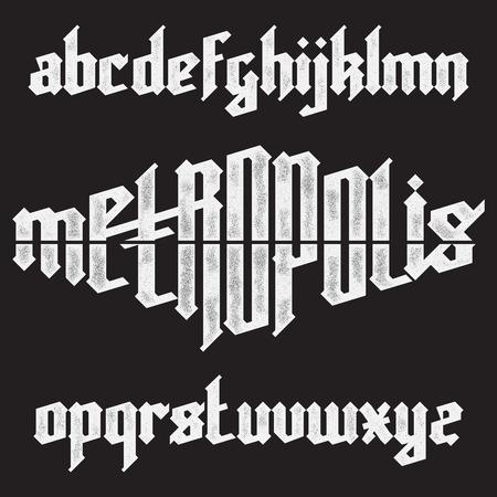 pila bautismal: Metr�polis moderna costumbre de fuente alfabeto g�tico. color azul conjunto de fuentes del vector de moda Vectores
