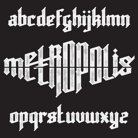 gothic: Metropolis modern custom gothic alphabet font. Trendy blue color vector font set