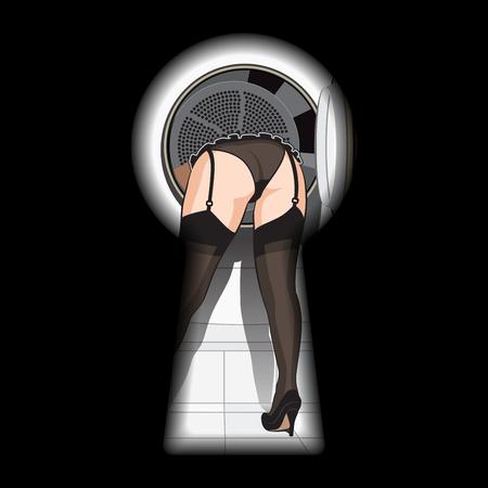 pantimedias: Mujer hermosa en ropa interior negra, medias y zapatos en la lavadora en vista de ojo de cerradura. ilustración vectorial retro pinup