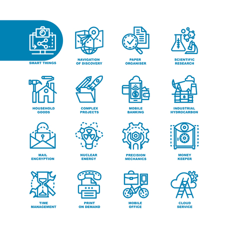industrial complex: Business Fat Line Icon set for web and mobile. Modern minimalistic flat design elements of smart things, navigation of discovery, paper organizer, scientific research, complex project, mobile banking