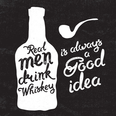 scotch whisky: Whiskey bottle and handwritten lettering Real men drink whiskey on the canvas background. Vector illustration