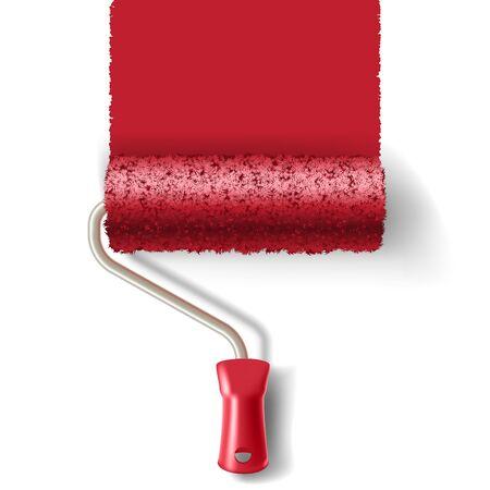 Vernice pennello rullo con vernice rossa pista isolato su sfondo bianco. applicabile per i banner ed etichette. Illustrazione vettoriale.