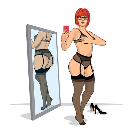 sexy stockings: redhair girl in stylish lingerie makes a photo of yourself and own back in the mirror
