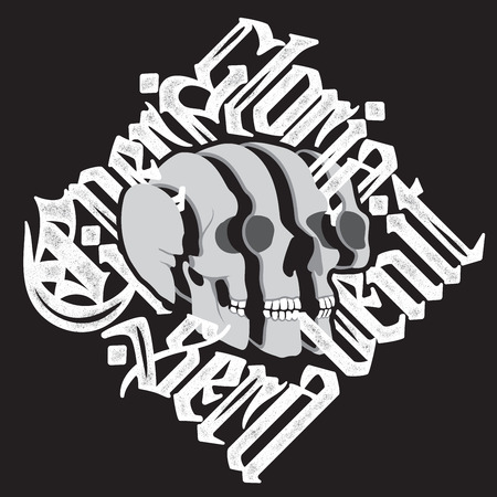 decrepit: Sliced Skull with latin gothic lettering - Cineri gloria sera venit - Fame to the dead comes to late. Vector calligraphic t-shirt design on black background