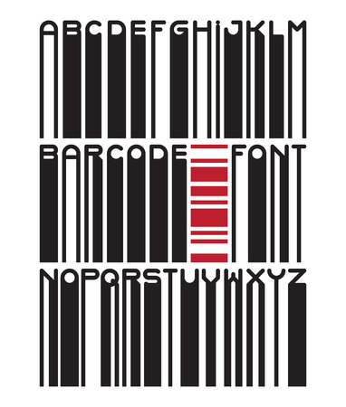 barcode scanning: Stylish barcode typeface font. Stripped letters of barcode scanning. Custom barcode font. Barcode letters set. Vector barcode illustration