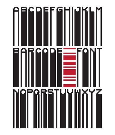 custom letters: Stylish barcode typeface font. Stripped letters of barcode scanning. Custom barcode font. Barcode letters set. Vector barcode illustration