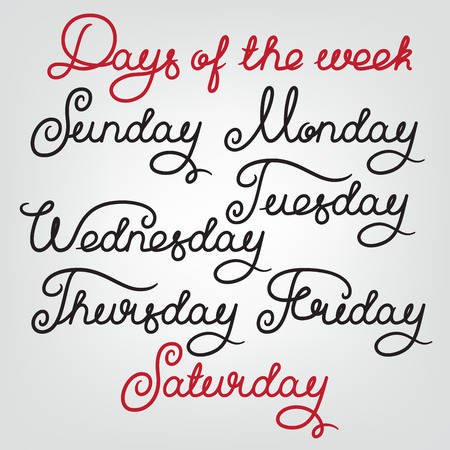 wednesday: Handwritten days of the week: Sunday, Monday, Tuesday, Wednesday, Thursday, Friday, Saturday. Calligraphy week words for calendars and organizers. Stock vector week lettering typography