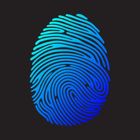 Blauw vingerafdruk. Kleur vingerafdruk op een zwarte achtergrond. Electric blue vingerafdruk. Beveiligingssysteem vingerafdruk. Vector vingerafdruk illustratie.