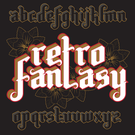 custom letters: 3d Retro Fantasy Gothic Font. Custom type vintage letters on a dark background. Stock vector typography for labels, headlines, posters etc.