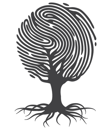 Black fingerprint tree. Fingerprint tree shape. Tree from fingerprint. Fingerprint roots. Vector fingerprint tree.
