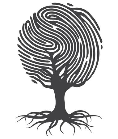 Zwarte vingerafdruk boom. Fingerprint boomvorm. Boom van vingerafdrukken. Vingerafdruk wortels. Vector vingerafdruk boom.