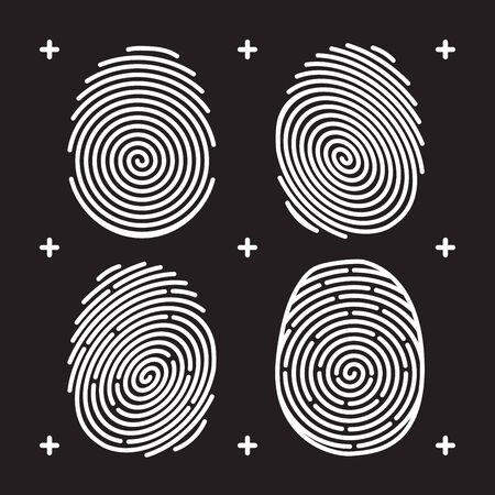 biometrics: Fingerprint icon set. White fingerprint on black background. Fingerprint identification. Fingerprint biometrics. Unlock with fingerprint. Security system fingerprint