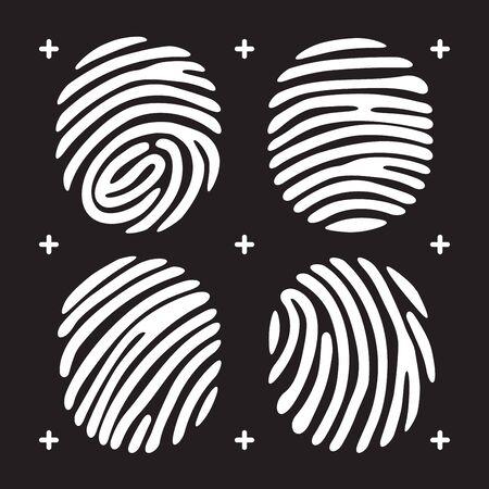 dactylogram: White fingerprint icon set. Fingerprint isolated on black background. Elements of fingerprint identification systems, security conception fingerprint, fingerprint apps icons. Illustration