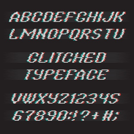 glitch: Glitch alphabet. Glitch letters and glitch numbers. Glitched typeface with glitch noise shadow. Glitch font set on black background. Vector glitch.