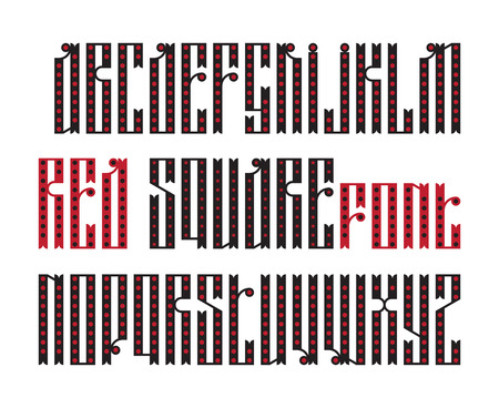 old square: Red Square font. The latin stylization of Old slavic font. Custom type vintage slavic font. Stock vector slavic typography for labels, headlines, posters etc.