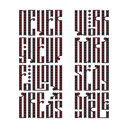 stock quotes: The latin stylization of Old slavic font. Custom type vintage lettering quotes - Never Give Up, Follow Dreams, Work Hard Stay Humble. Stock vector typography for labels, headlines, posters etc.