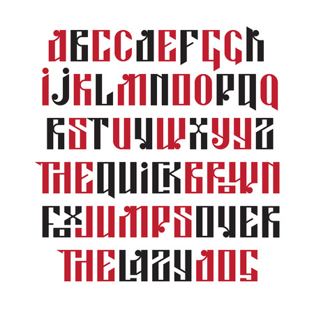 russian: The latin stylization of Old slavic font. Custom type vintage letters on a dark background. Stock vector typography for labels, headlines, posters etc.