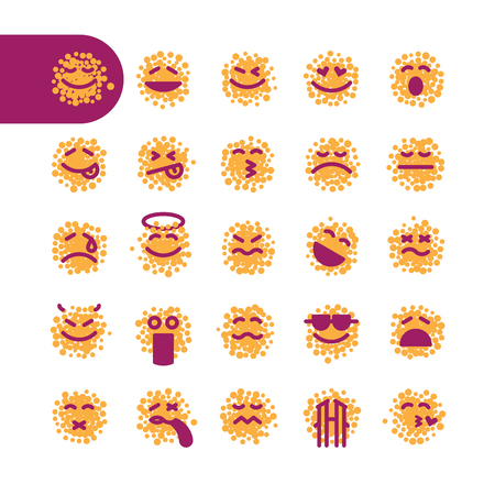 spotty: Color spot Icon Set of emoticons for web and mobile. Modern minimalistic flat design elements of spotty emoji isolated on white background, vector illustration.
