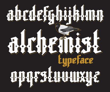 alchemist: Alchemist modern custom gothic alphabet font. Alchemist magic vector font set Illustration