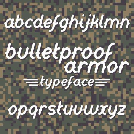 bulletproof: Bulletproof armor typeface. Bulletproof font set. Vector bulletproof armor typeface on military camouflage background