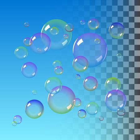 dreamy: Realistic soap bubbles with rainbow colors. vector soap bubble illustration