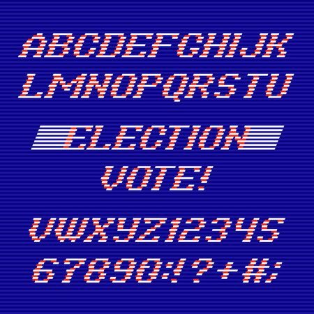 election day: Election Day font and numbers from Stripes. Election Day alphabet. Congratulations Election Day. Vector Election Day typeface.