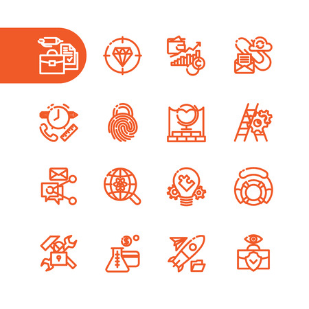 career management: Business Fat Line Icon set for web and mobile. Modern minimalistic flat design elements of business management, strategy, career progress and finance process